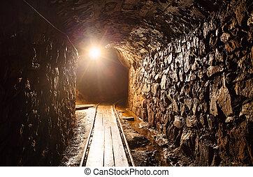 túnel mina, com, caminho, -, histórico, ouro, prata, cobre,...
