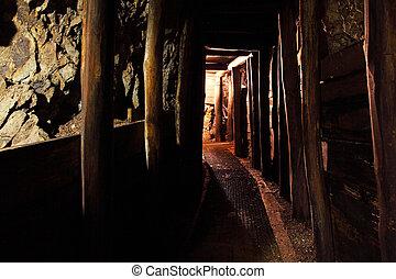 túnel mina, com, caminho, -, histórico, ouro, prata, cobre, mina
