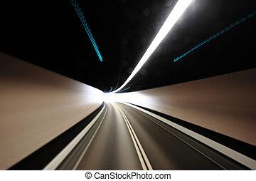 túnel, movimento, blured, rodovia