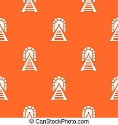 túnel, padrão, estrada ferro, vetorial, laranja