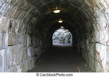 túnel, pedra
