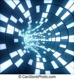 túnel, resumen, ilustración, fondo., cuadrados, 3d