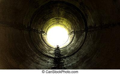 túnel subterrâneo, guiando, direção, a, luz
