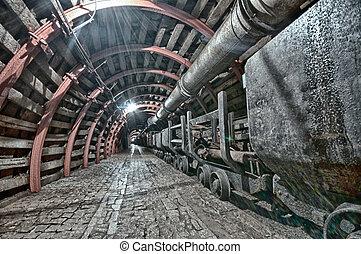 túnel, subterrâneo, mina, hdr