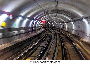 túnel subterrâneo, tubo, metrô, metro