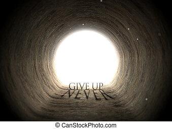 túnel, texto, sombra, conceito