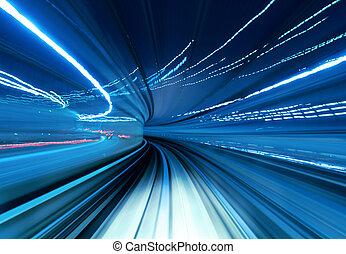 túnel, trem, em movimento, rapidamente