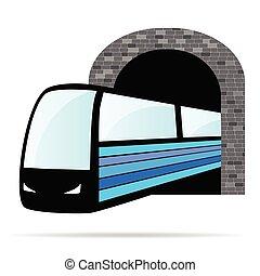 túnel, tren, vector, ilustración