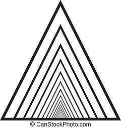 túnel, triángulo, resumen, descendente, perspectiva