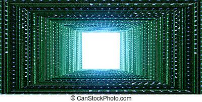 túnel, verde, matriz
