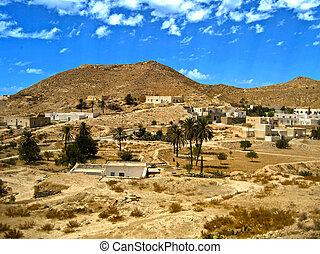túnez, vista, rocoso, desierto