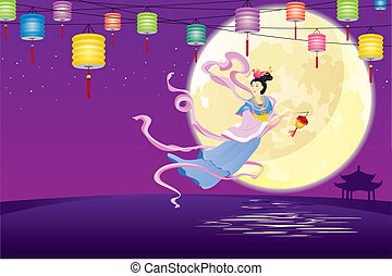 tündér, repülés, il, kínai, hold