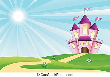 tündérmese, palota, képben látható, egy, zöld pázsit