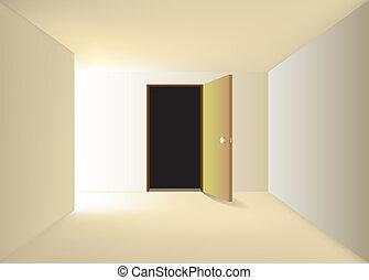 tür, geöffnet, -, abbildung, drehung, korridor, ende, links