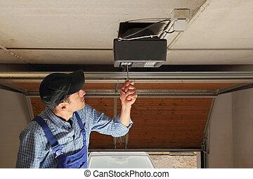 tür, installieren, garage, öffner, elektrisch, handwerker