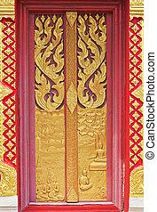 tür, thailand., tempel