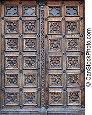 tür, westen, portal, von, der, kirche, von, str. markierung, in, zagreb, kroatien