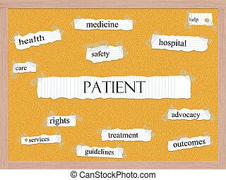 türelmes, corkboard, szó, fogalom