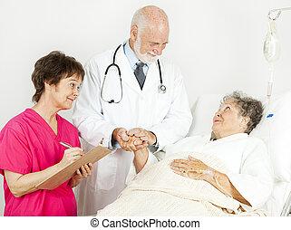 türelmes, kórház, törődik, -