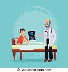 türelmes, karikatúra, orvos
