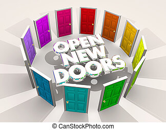 türen, abbildung, herausforderungen, gelegenheiten, wörter, neu , rgeöffnete, 3d