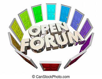 türen, forum, viele, abbildung, wörter, versammlung, rgeöffnete, öffentlichkeit, 3d