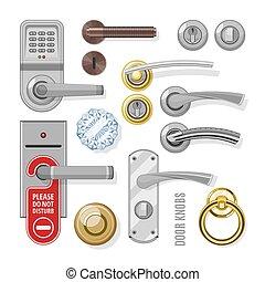 türgriff, hintergrund, türen, metall, door-knob, vektor, knäufe, eingang, satz, weißes, abbildung, heimhaus, stiel, door-handle, inneneinrichtung, schloß, freigestellt, tür, design