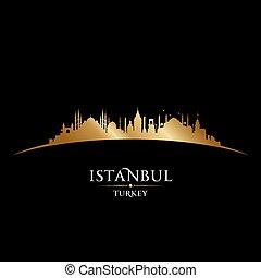 türkei, stadt, silhouette, istanbul, skyline, schwarzer hintergrund