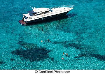 türkis, b, mittelmeer, formentera, yacht, luxus, meer, illetes