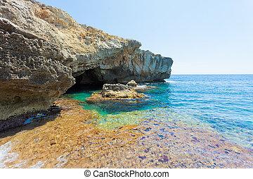 türkis, grotte, -, wasser, verde, kuesten, apulia