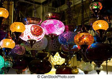 türkisch, hängender , lanterns.