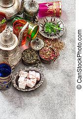 türkisch, tee, tisch, freuden, ramadan, kareem, eid, mubarak