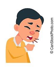tüsszentés, légzési, concept., ábra, cégtábla., healthcare, infection., vírus, betegség, vagy, köhög, coronavirus, portré, fiú, allergia, vektor, megelőzés, betegség, tünetek, orvosság