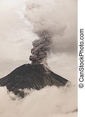 tüzes, kitörés, tungurahua, vulkán