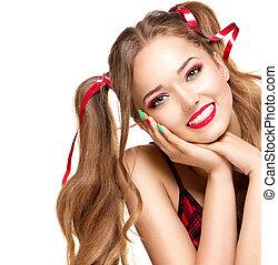 týkající se mládeže od 13 do 19 let, móda, kráska, osamocený, grafické pozadí, děvče, neposkvrněný