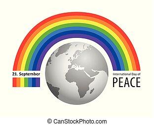 tęcza, 21, wrzesień, pokój, międzynarodowy, dzień