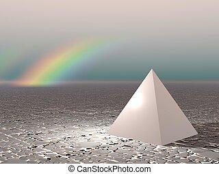tęcza, abstrakcyjny, piramida, -