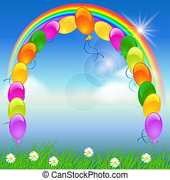 tęcza, balony