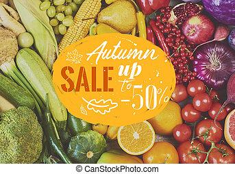 tęcza, barwny, warzywa, zbiór, tło., owoce