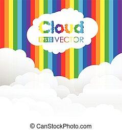 tęcza, chmura, tło