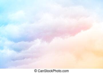tęcza, chmury