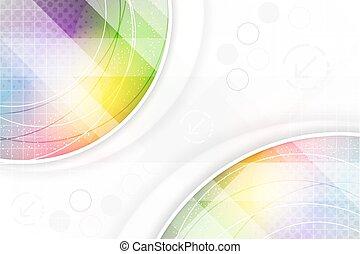 tęcza, elementy, effect., abstrakcyjny, halftone, kolor, tło, okólnik
