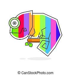 tęcza, graficzny, kameleon farbują, litera, jaszczurka, rysunek