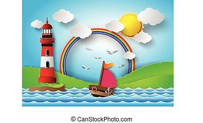 tęcza, jacht, leszcz, morze, słońce