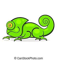 tęcza, kameleon farbują, litera, ilustracja, jaszczurka, rysunek