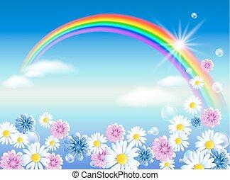 tęcza, kwiaty, chmury, niebo