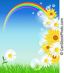tęcza, kwiaty, trawa, zielony