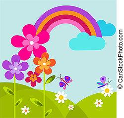 tęcza, kwiaty, zielona łąka, motyl