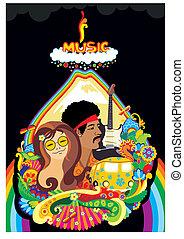 tęcza, muzyka, twarz roślina