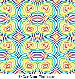 tęcza, objętościowy, trójwymiarowy, barwny, pattern., seamless, tło., wektor, biały